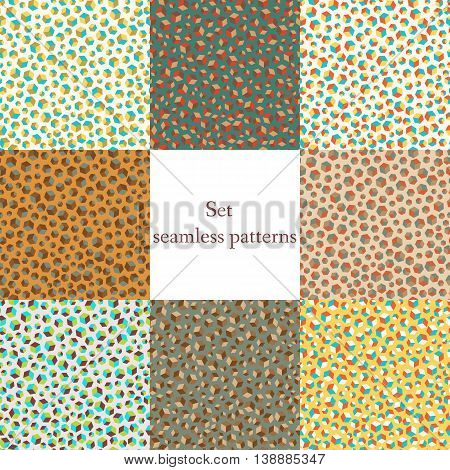 Set of seamless geometric seamless pattern of cubes-vector illustration. Prints and colorful ornaments.