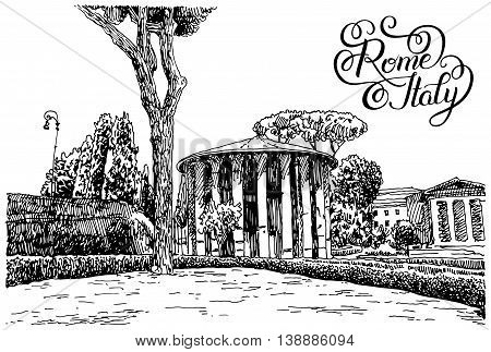 black and white sketch hand drawing of Rome Italy famous cityscape with hand lettering inscription, travel card, vector illustration