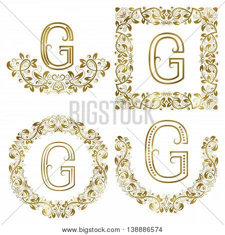 Golden G letter ornamental monograms set. Heraldic symbols in wreaths square and round frames.