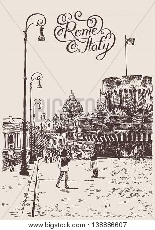 original hand drawing of cityscape with fortress of Sant'Angelo in Rome, Italy with hand lettering inscription, vector illustration