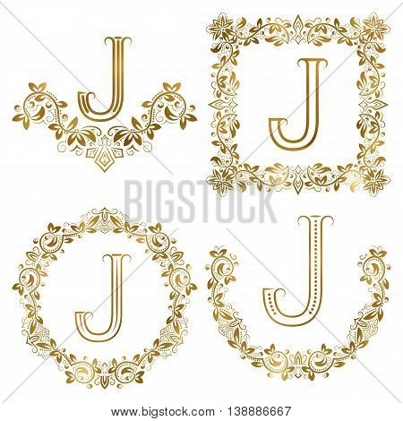 Golden J letter ornamental monograms set. Heraldic symbols in wreaths square and round frames.