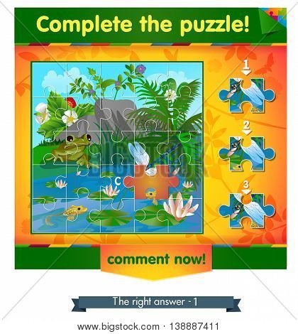 visual game for children and adults. Task complete the puzzle!