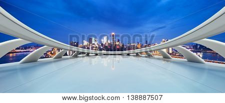 cityscape and skyline of chongqing at twilight on view from abstract window