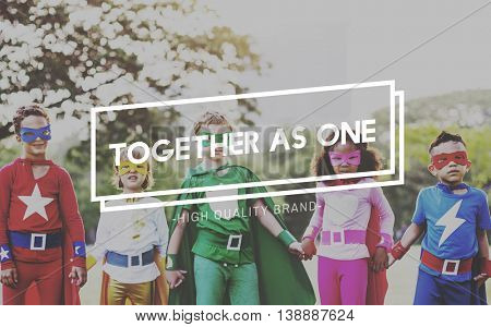 Together as One Unity Teamwork Community Support Concept