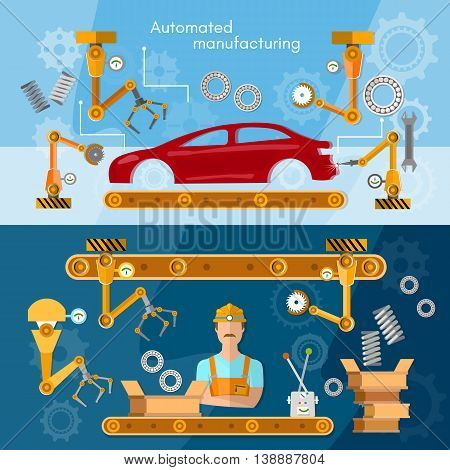 Car assembly line banner operator automotive industry conveyor belt vector illustration