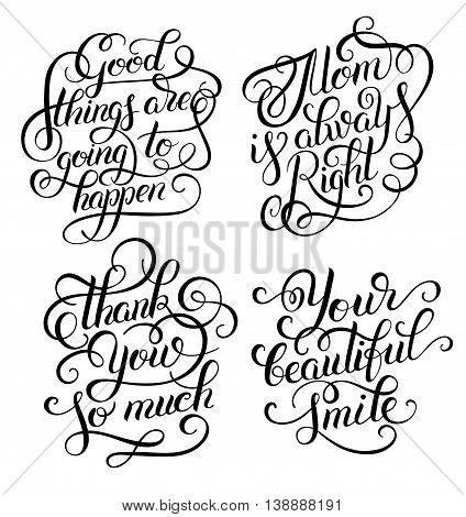 black and white inspirational phrase set, positive lettering composition collection, t-shirt print design, typographic quote poster, calligraphy vector illustration