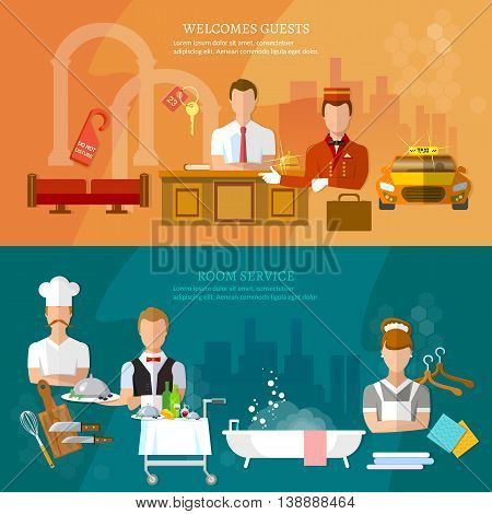 Hotel service banners hotel staff reception room cleaning restaurant vector illustration