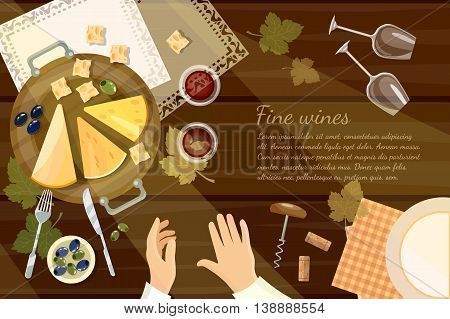 Wine tasting sommelier top view wine bottle and grapes on wooden table cartoon vector illustration
