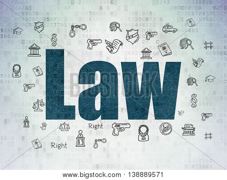 Law concept: Painted blue text Law on Digital Data Paper background with  Hand Drawn Law Icons