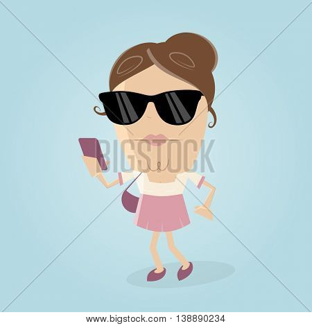 stylish woman with smartphone and sunglasses