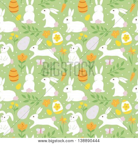 Easter holiday background seamless pattern with easter bunny. Hand drawing vector illustration