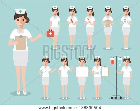 Group of female doctors nurses and medical staff people. Women medical team concept in flat design people character set.