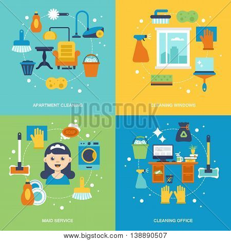 Cleaning services concept design. Apartment office and window cleaning icons. Vector illustration