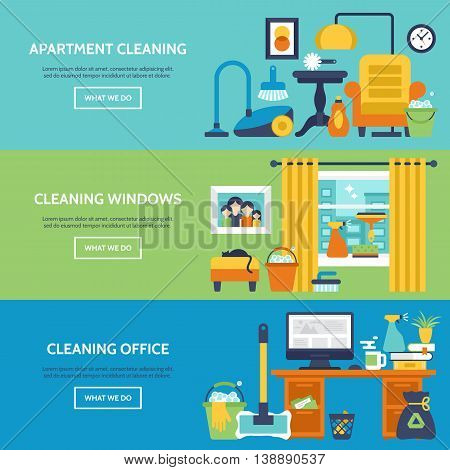 Cleaning services website banner design. Apartment office and window cleaning icons. Vector illustration