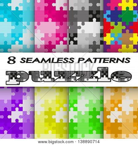 set of seamless patterns in style a puzzle