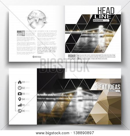 Set of annual report business templates for brochure, magazine, flyer or booklet. Colorful polygonal background, blurred image, night city landscape, modern stylish triangular vector texture.