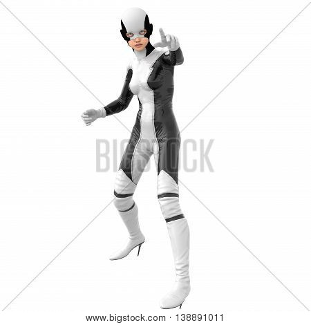one teenage girl in a white dark super suit. Standing in alert pose, pointing towards camera. 3D rendering, 3D illustration