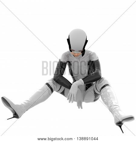 one teenage girl in a white dark super suit. Sitting  legs apart in different directions. Hands together. 3D rendering, 3D illustration