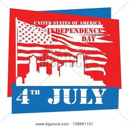 Vintage Fourth of July Independence Day sign, vector illustration