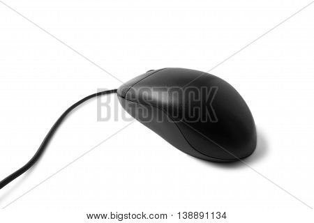 black computer mouse isolated on white background pc internet office work