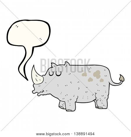 freehand drawn speech bubble cartoon rhino