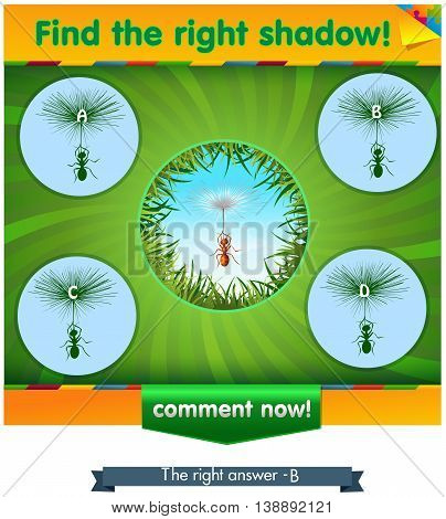 visual game for children and adults. Task the find right shadow ant