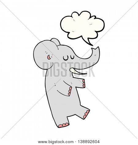 freehand drawn speech bubble cartoon dancing elephant