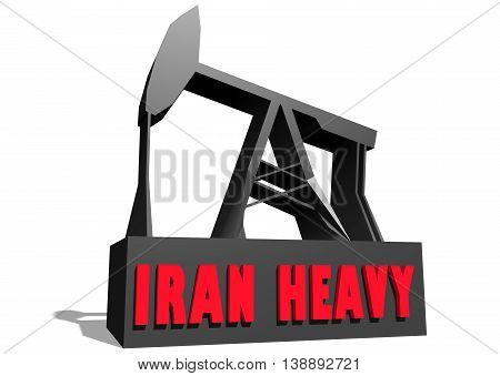 Oil pump and Iran Heavy crude oil name. Energy and power relative backdrop. 3D rendering