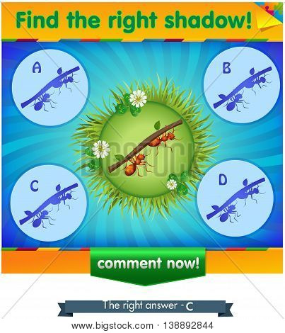 visual game for children and adults. Task the find right shadow ants