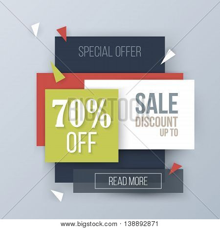 Modern sale website header background. Vector illustration