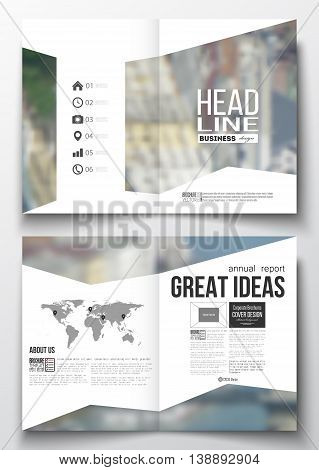 Set of business templates for brochure, magazine, flyer, booklet or annual report. Blurred image, urban landscape, modern stylish triangular vector texture.