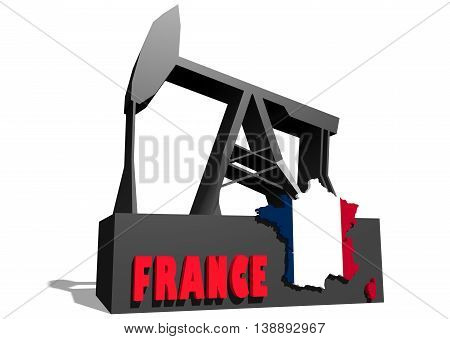 Oil pump and France map. Energy and power relative backdrop. 3D rendering