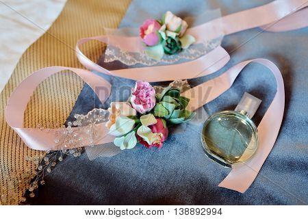 Beautiful Bouquet And Perfume Bottle For Bride And Groom. Beauty Of Wedding Accessories Indoors. Clo