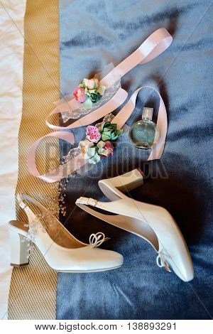Beautiful Bouquet, Shoes And Perfume Bottle For Bride And Groom. Beauty Of Wedding Accessories Indoo