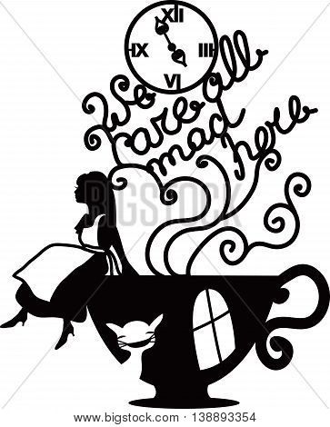 Alice in Wonderland vector illustration. We are all mad here. Fantasy stylish illustration for cafe, menu, card, book