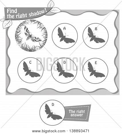 visual game for children and adults. Task the find right shadow butterfly. black and white vector illustration