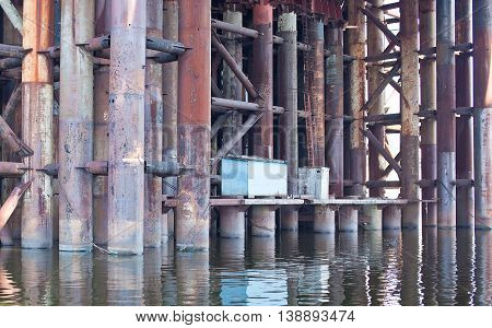Construction of the Iron Bridge of pipes in Kiev Ukraine.