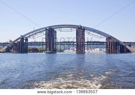 Construction of the Iron Bridge of pipes in Kiev, Ukraine.