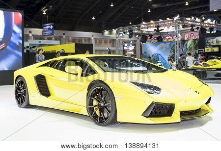 Bangkok - March 22 : yellow Lamborghini super sport car - in display at The 37th Bangkok international Motor Show 2016 on March 22 2016 in Bangkok Thailand