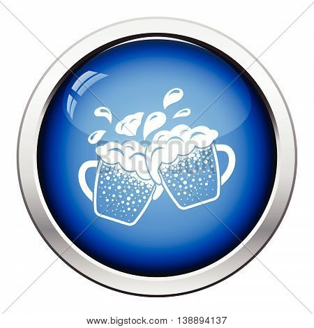 Two Clinking Beer Mugs With Fly Off Foam Icon