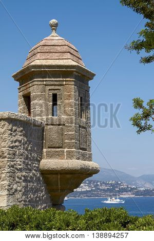 Monte Carlo Palace Wall with Watch Tower Overlooking the Mediterranean Ocean.