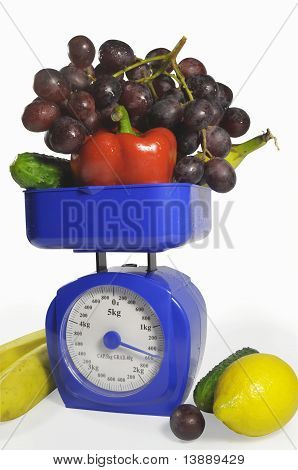 Fruit and vegetables on scales