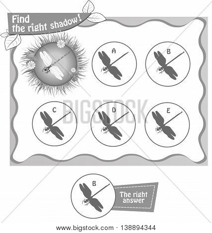 visual game for children and adults. Task the find right shadow dragonfly. black and white vector illustration