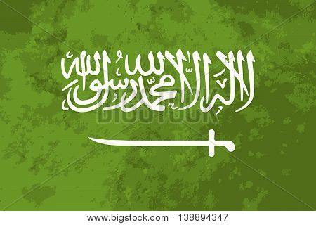 True proportions Saudi Arabia flag with grunge texture