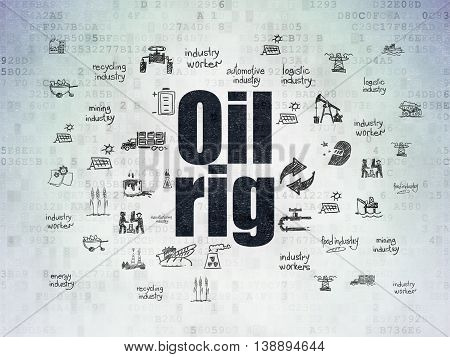 Industry concept: Painted black text Oil Rig on Digital Data Paper background with  Hand Drawn Industry Icons