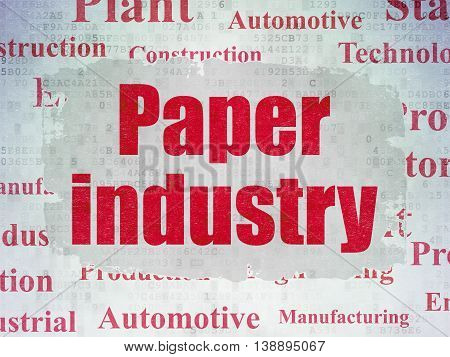 Manufacuring concept: Painted red text Paper Industry on Digital Data Paper background with   Tag Cloud