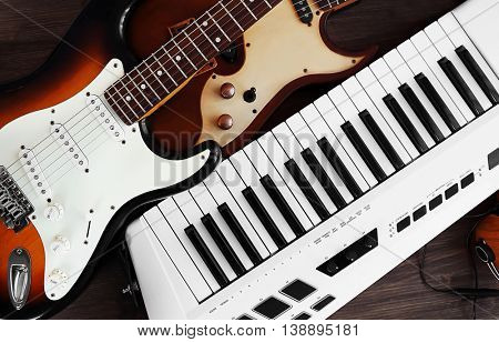 Electric guitars and synthesizer closeup