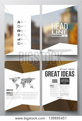 Set of business templates for brochure, magazine, flyer, booklet or annual report. Polygonal background, blurred image, urban landscape, cityscape, modern stylish triangular vector texture.
