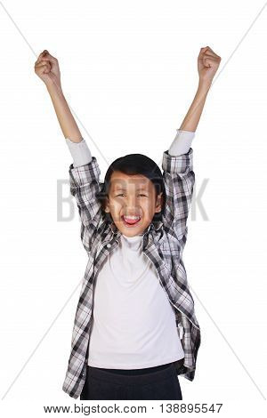 Success concept portrait of happy and smiling cute beautiful Asian girl showing enthusiastic winning gesture with both of her hand raised up isolated over white