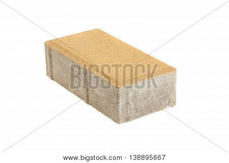Single yellow pavement brick isolated. Concrete block for paving